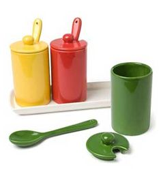 Condiment Trio on Tray with Spoons, by Abbott Collection   Great for Barbeque season - see this piece at The GIFT BOX in Beaverlodge