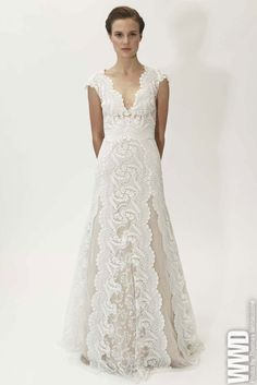 """Lela Rose Bridal Spring 2015 The designer juxtaposed embroidery, brocade and crystal beading with sleek silhouettes and """"a contemporary appeal."""" For More"""