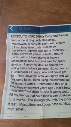 Keep mosquitoes away this summer with this DIY mosquito spray made of mouthwash, beer, and Epsom salt. Someone who tried this said this actually works well. Keep some in a spritz bottle under a chair or table for reapplications. Mosquito Yard Spray, Diy Mosquito Repellent, Mosquito Plants, Insect Repellent, Anti Mosquito, Diy Mosquito Trap, Gothic Home, Keeping Mosquitos Away, Insecticide