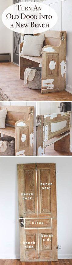 Old Door, New Bench | Creative DIY Project Ideas of How to Reuse Old Doors