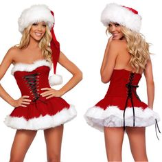 Sexy Miss Mrs Santa Claus Lady Fancy Dress Christmas Party Women Costume Outfit | Women's Fancy Dress | Fancy Dress - Zeppy.io