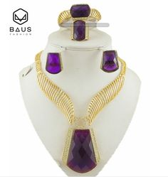 Purple Stone Gold Plated Indian Jewelry Set Women Necklace & Drop Earrings Vintage Party Earring And Necklace Jewelery Sets //Price: $46.49 & FREE Shipping // #fashion #gems #gem #gemstone