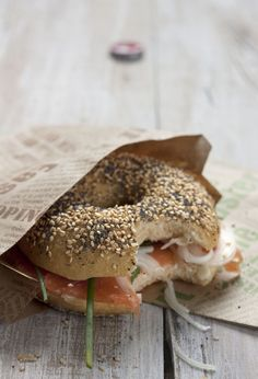 Salmon Bagel with spring onion, chive and pickels, delicious¡¡¡¡
