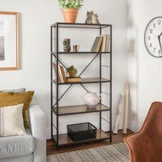 Carbon Loft Ora Metal and Wood Rustic Bookshelf (Driftwood), Brown Rustic Bookshelf, Ladder Bookshelf, Wood Bookshelves, Wood Shelves, Etagere Bookcase, Brown Furniture, Brown Wood, Room Decor, Loft