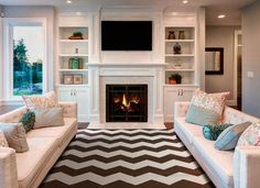 Living Room : Design With Fireplace And Tv Craftsman Gym ...