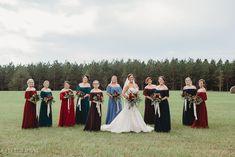 Fall wedding in a hay field