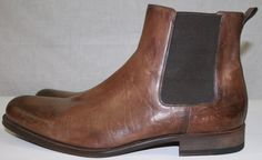 New Magnanni Brown DIstressed Leather Ankle Boots 12M #Magnanni #AnkleBoots