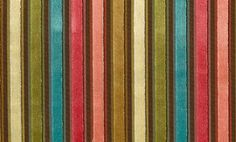 Canoga Velvet Pink, turquoise, gold and cream striped velvet fabric