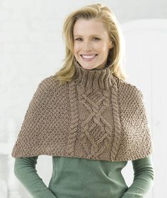 Keep warm and stylish without all the fuss with this cable half-poncho knitting pattern. Though the intricate cable design makes this an intermediate knitting pattern, finishing this knit poncho is much easier than a traditional sweater. Poncho Knitting Patterns, Knitted Poncho, Knitting Stitches, Knit Patterns, Free Knitting, Clothing Patterns, Free Crochet, Knit Crochet, Poncho Shawl