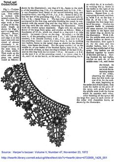 Collar pattern from Harper's bazaar: Volume V, Number November 1872 Tatting Patterns, Lace Patterns, Craft Patterns, Crochet Collar, Lace Collar, Knit Crochet, Tatting Necklace, Tatting Jewelry, Needle Tatting
