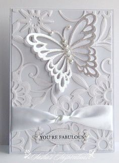 handmade card from Sasha's Inspirations . die cut butterfly with pearl body rests on embossing folder bed of flowers . Pretty Cards, Cute Cards, Diy Cards, Wedding Anniversary Cards, Wedding Cards, Butterfly Cards, White Butterfly, Glass Butterfly, Embossed Cards