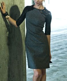 Another great find on #zulily! Gray & Black Faux Leather Totally Boss Dress by Shabby Apple #zulilyfinds