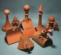 Selection of handmade clay roof finials #finials