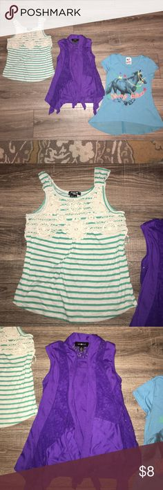 Girl's Shirt Bundle Girl's Shirt Bundle- Size Medium 8-10: EUC. The brands are Sequin Hearts, Amy Byer, and Belle du Jour (all from Belk department store). These shirts do not have any rips or stains. They come from a smoke free home. Shirts & Tops