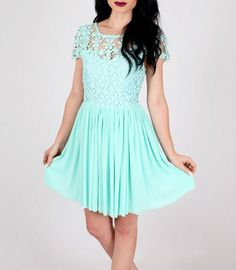 Pretty Mint Crochet Dress. Kinda makes you wanna attend a party right now.