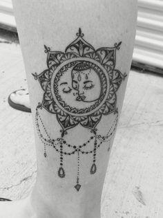 Vintage Boho Sun and Moon Mandala Tattoo. LOVE it!!: