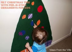 DIY Felt Christmas Tree With Peel & Stick Felt Ornaments - Great to keep the kiddos busy and away from the real deal!