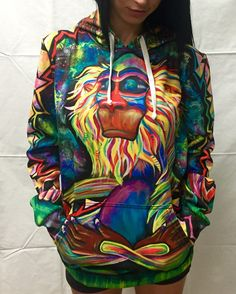 "Valid like salad! Hand-drawn art by Laura McGowan ""Meditating Rafiki"" Pullover Hoodie! Features: - 100% polyester but feels as soft as cotton - Guaranteed. - Vibrant full color print, front & back - D"