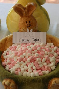 Marshmellows as Bunny Tails at a Peter Rabbit Baby Shower