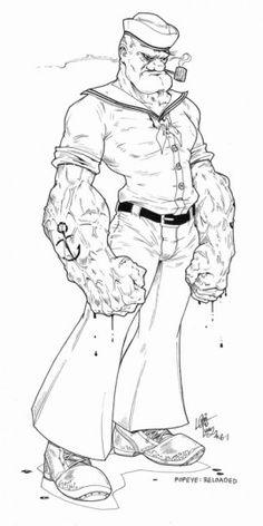 Badass Popeye Science Fiction Art, Pulp Fiction, Comic Books Art, Comic Art, Popeye Cartoon, Character Art, Character Design, Popeye The Sailor Man, American Tattoos