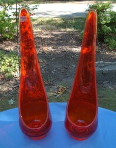 Mid-Century Modern Pair Viking Candle Holders Epic Taperglow Art Glass Tangerine
