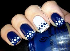 Blue and White Spotted Nail Design