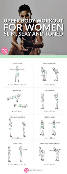 Get your arms, shoulders, back and chest ready for tank top season with this upper body workout. A 20 minute routine for a slim, sexy and toned upper body. Upper body workout for women Fitness Workouts, Fitness Diet, At Home Workouts, Fitness Motivation, Health Fitness, Workout Routines, Gym Workout Plans, Arm Workout Women No Equipment, Arm Workout Women With Weights