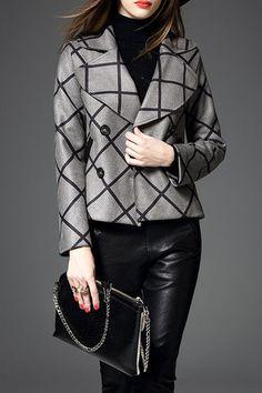 $93.99 Grey Lapel Geometric Jacket