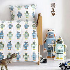 Ferm Living Robot Crib Bedding Set - http://www.theboysdepot.com/ferm-living-robot-crib-bedding-set.html