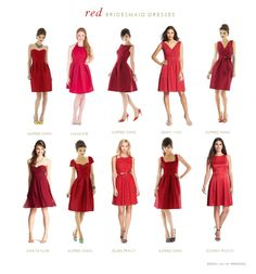 A collection of red bridesmaid dresses