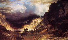 'Ein Sturm in den Rocky Mountains', öl auf leinwand von Albert Bierstadt (1830-1902, Germany)