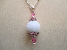 White Handmade Sugar Bead Pendant Necklace by MsDorian on Etsy, $18.00