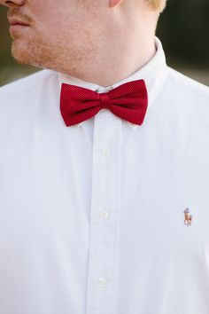 Button-Up & Bow Tie {white button-up Ralph Lauren shirt and gray suit pants, accessorized with a red bow tie.} |    Photography: Natalie Franke Photography