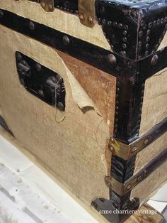 restore an old trunk, painted furniture, repurposing upcycling, BEFORE