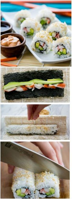 Sushi Rice and California Rolls Recipe | Sushi are kind of healthy dietic food for lovers of fish and rice. You can easy cook them at home. These California sushi is so easy as one, two, three, and you don't need to worry about gaining weight.