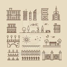 Linear cityscape, landscape elements and buildings vector icons set