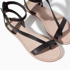 Image 4 of LEATHER ANKLE STRAP SANDAL from Zara