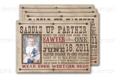 5x7 Custom Western Birthday Party Invitation by PLGraphicDesign, $15.00
