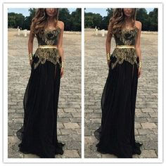 dresses party kids on sale at reasonable prices, buy Vestido Formatura Elegant Prom Dresses 2015 Sexy Strapless Gold Lace Maternity Black Chiffon Long Evening Party Dress from mobile site on Aliexpress Now! Elegant Prom Dresses, Black Evening Dresses, Black Prom Dresses, Cheap Prom Dresses, Dress Black, Prom Dress 2014, Dresses 2014, Dresses Dresses, Fashion Dresses