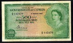 Cyprus currency 500 Mils banknote Queen Elizabeth II