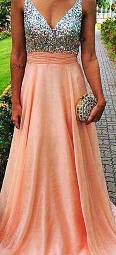 Long A-Line V-Neck Backless Chiffon Prom Dresses