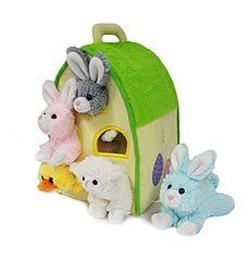 """Easter Animals Plush Play House Set by UNIPAK DESIGNS. $24.98. Take the animals out to play with, put back to """"bed"""" at night. Duck, kitten, and three bunnies. Includes five plush animals that kids can fit into holes in the plush playhouse. Full house! Our soft-sculpted animal condo is home to a family of five fun, slightly shaggy, delightfully silly animals. The duck, kitten, and three bunnies each have their own little round """"homes"""" to inhabit, and are easy for kids to pop o..."""