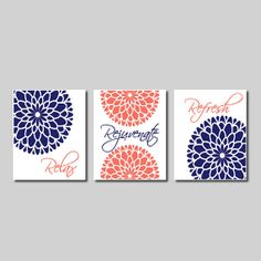 Modern Floral Flower Flourish Artwork Set Of 3 Trio Prints Relax Rejuvenate  Refresh Navy Coral Gray Wall Art Decor Bathroom Home Picture