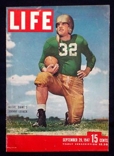 1947,Vintage Football, Notre Dame-Life Cover/photos. $4.20 USD, via Etsy.