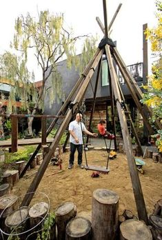 The enclosed frontyard is an oasis for the kids, with a swing set joining the tepee and sandbox, plus a soft pathway on which they can run or ride. Sela and Schoenbachler, did the landscaping with the help of Venice designer Art Maltby.