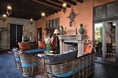 I can imagine the long conversations I'd have on this patio. Hacienda Homes, Hacienda Style, Mexican Hacienda, Spanish House, Spanish Style, Spanish Colonial, Outdoor Living Rooms, Outdoor Spaces, Outdoor Decor