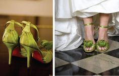 Loooooove the twist of green shoes under the white gown!