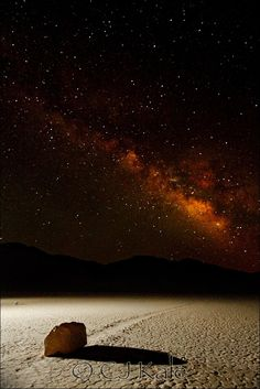 ♥ Milky Way Over Death Valley...Mystery Moving Rocks Trails..