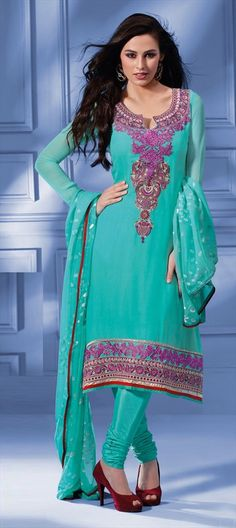 91914, Salwar Kamez, Faux Georgette, Machine Embroidery, Blue Color Family