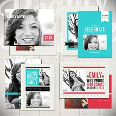 Senior Announcement Card Templates: Time To Celebrate - Set of Four 5x7 Graduation Card Templates. Etsy | Beauty Divine